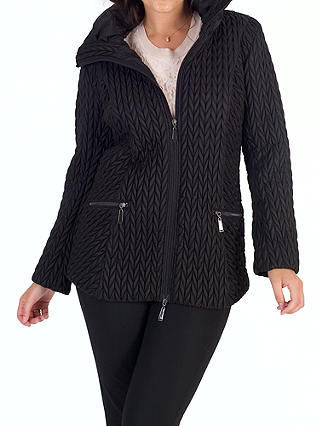 Buy Chesca Cable Embroidered Quilted Coat, Black, 12 Online at johnlewis.com