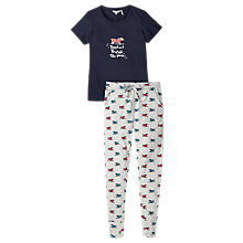 Buy Fat Face Snow Daschund Legging Pyjama Set, Navy Online at johnlewis.com