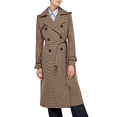1920s Style Coats Gerard Darel Gretel Check Trench Coat Camel £425.00 AT vintagedancer.com