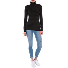 Buy French Connection Babysoft Turtle Neck Striped Jumper, Brunswick Green/Black Online at johnlewis.com