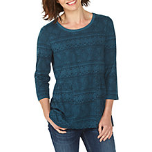 Buy Fat Face Peyton Geo Weave Peplum Top, Deep Teal Online at johnlewis.com
