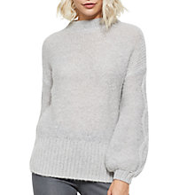 Buy Mint Velvet Cable Balloon Sleeve Knit Jumper, Grey Online at johnlewis.com