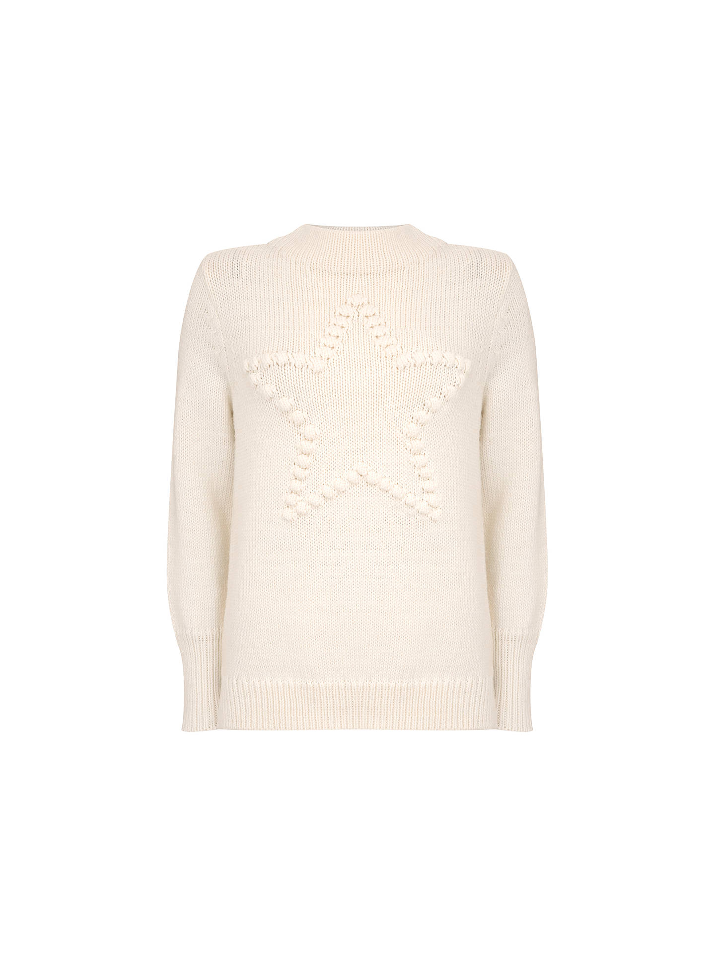 BuyMint Velvet Pom Pom Star Knit Jumper, Ivory, 12 Online at johnlewis.com