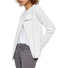 Buy Mint Velvet Ribbed Biker Cardigan, Ivory Online at johnlewis.com
