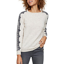 Buy Mint Velvet Lace Sleeve Knit Jumper, Oatmeal Online at johnlewis.com