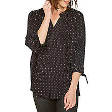 Buy Fat Face Copper & Black Peony Polka Dot Blouse, True Black Online at johnlewis.com