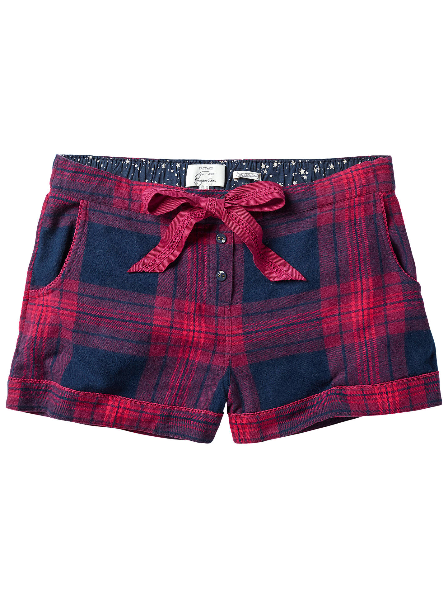BuyFat Face Festive Check Shorts, Navy, 6 Online at johnlewis.com