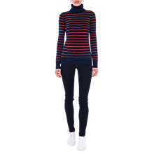 Buy French Connection Babysoft Turtleneck Striped Jumper, Navy/Copper Coin Online at johnlewis.com