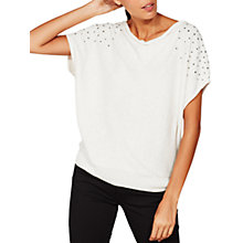 Buy Mint Velvet Sequin Shoulder Batwing Top, Oyster Online at johnlewis.com