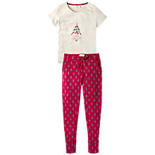 Buy Fat Face Treemendous Legging Pyjama Set, Rose Red Online at johnlewis.com