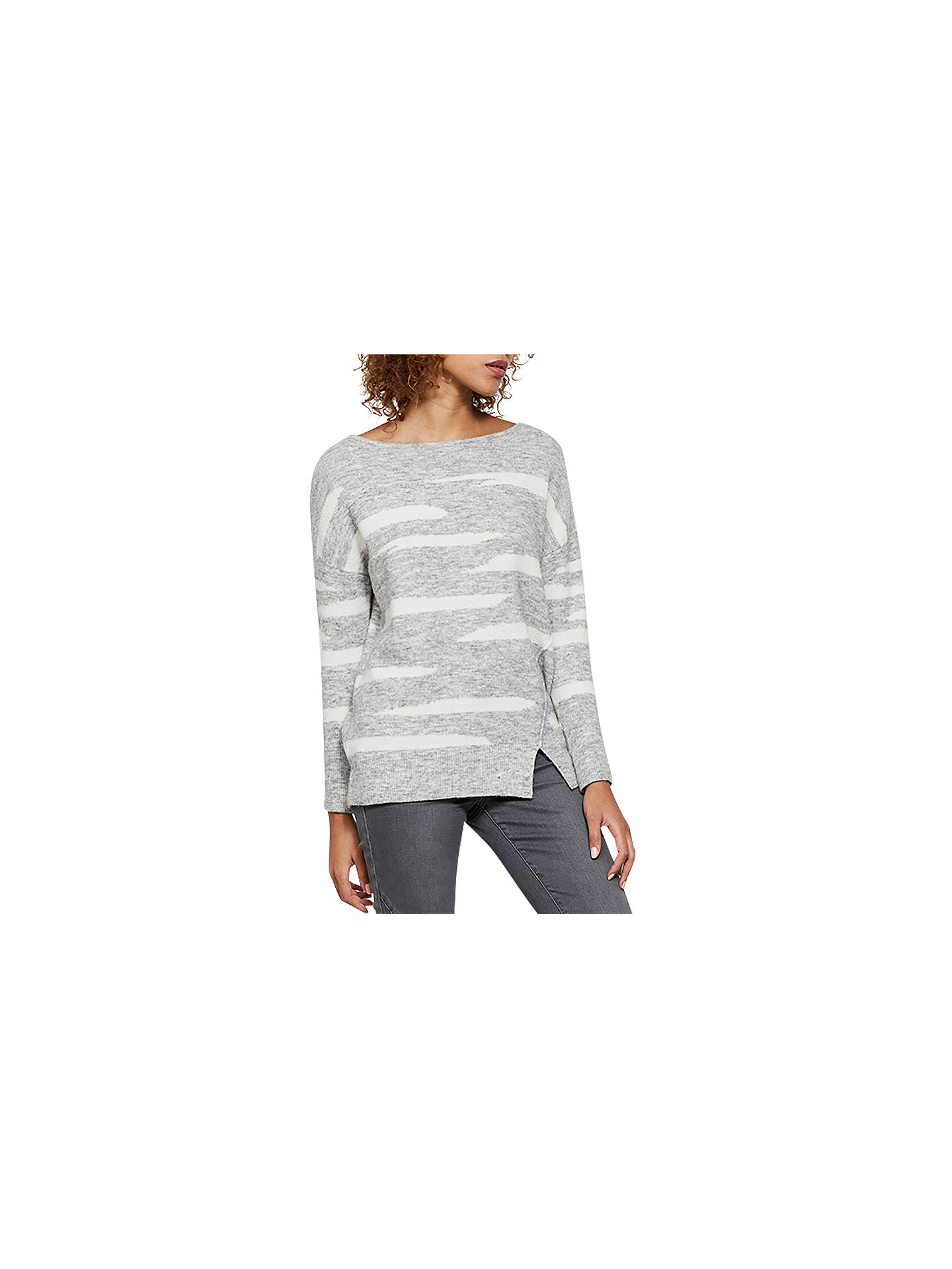 BuyMint Velvet Irregular Stripe Jumper, Silver Grey, 6 Online at johnlewis.com
