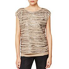 Buy Mint Velvet Linear Sequin T-Shirt, Taupe Online at johnlewis.com