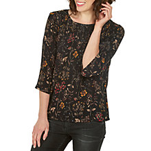 Buy Fat Face Bella Wildflower Blouse, True Black Online at johnlewis.com