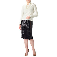 Buy Pure Collection Sequin Skirt, Black Online at johnlewis.com