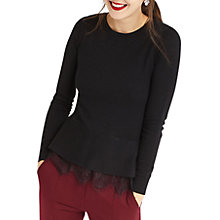 Buy Oasis Lace Peplum Top, Black Online at johnlewis.com
