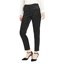 Buy Oasis Bamboo Jacquard Trousers, Black Online at johnlewis.com