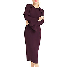 Buy Oasis Fluted Sleeve Shift Dress, Berry Online at johnlewis.com
