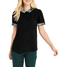 Buy Oasis Animal Collar Print Top, Black Online at johnlewis.com