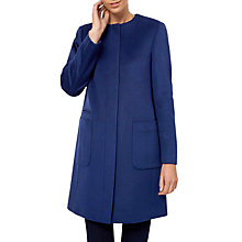 Buy Jaeger Collarless Wool Coat, Blue Online at johnlewis.com
