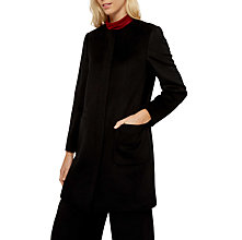 Buy Jaeger Collarless Wool Coat, Black Online at johnlewis.com