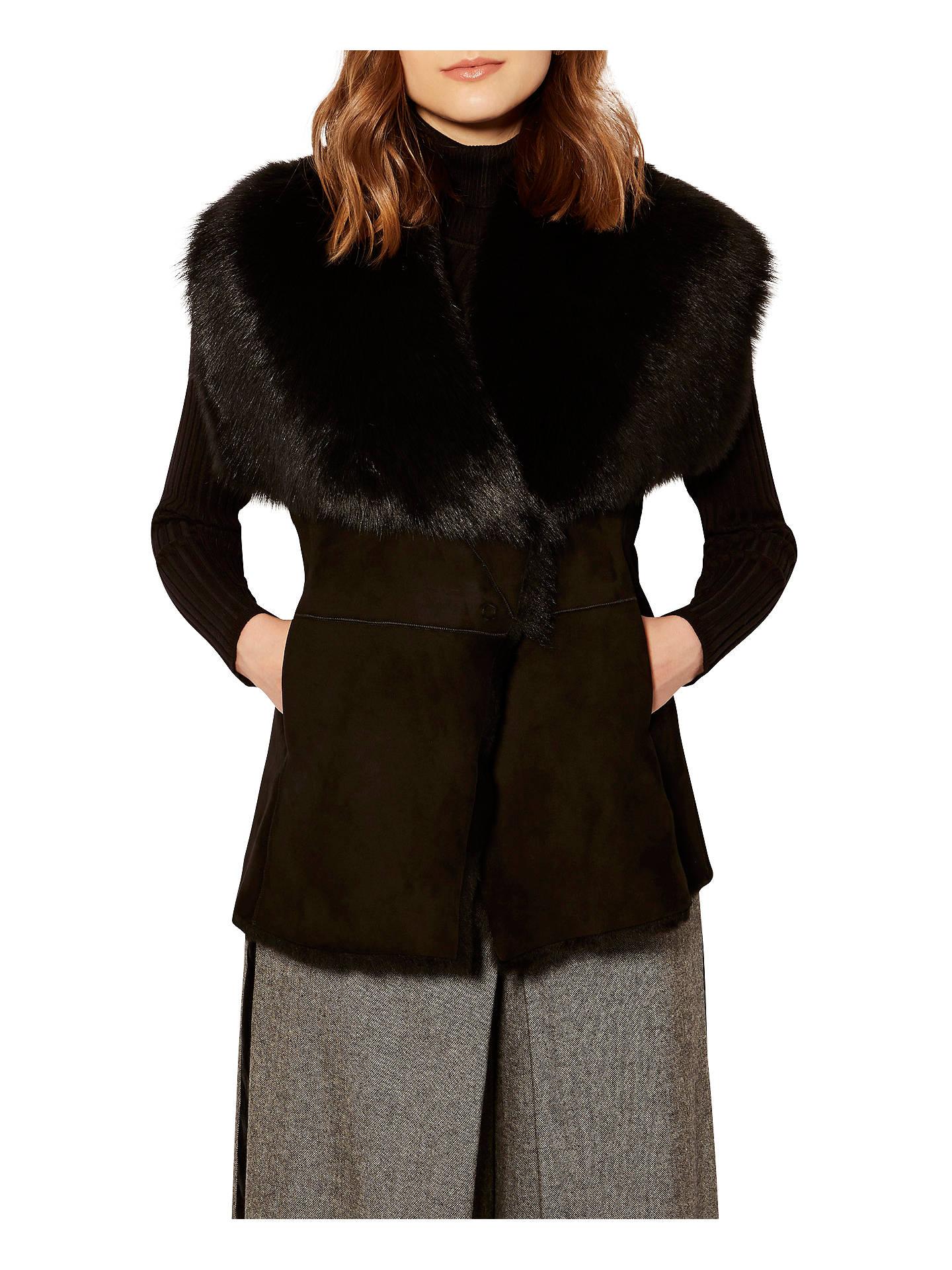 f8801d9ce3 Buy Karen Millen Shearling Gilet, Black, 6 Online at johnlewis.com ...