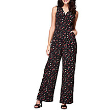 Buy Yumi Ditsy Floral Print Jumpsuit, Black/Multi Online at johnlewis.com