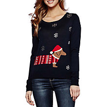 Buy Yumi Dachshund Christmas Jumper, Dark Navy Online at johnlewis.com