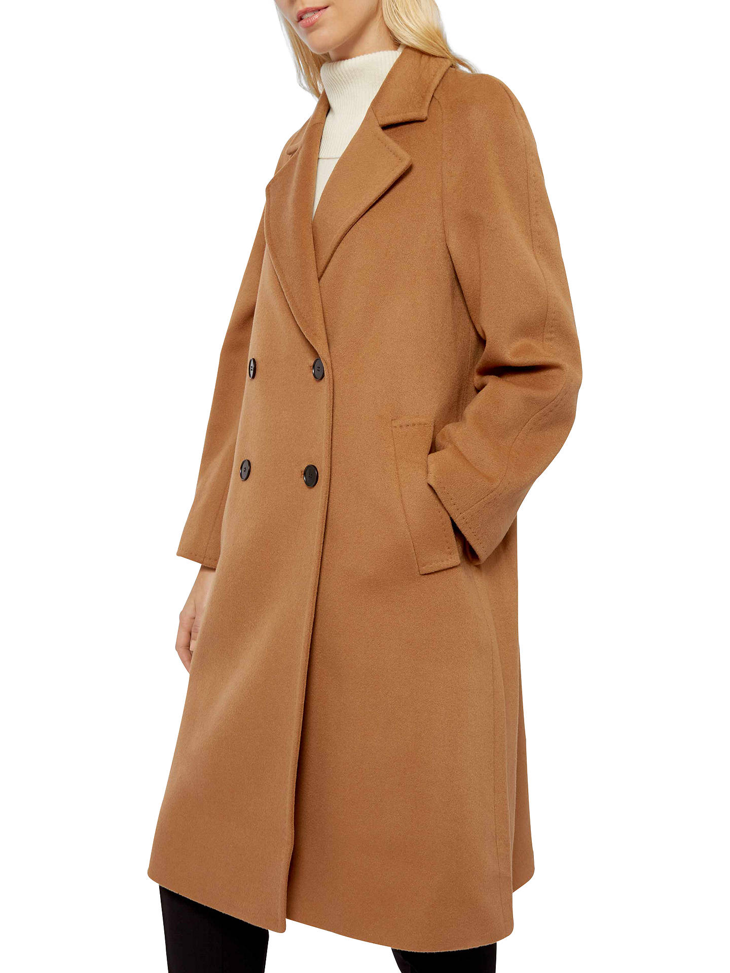 hot-selling official fashion style hot-selling genuine Jaeger Wool Cashmere Double Breasted Swing Coat, Dark Camel ...