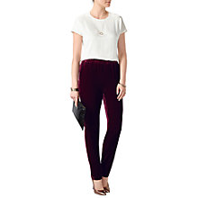 Buy Pure Collection Velvet Trousers, Dark Berry Online at johnlewis.com