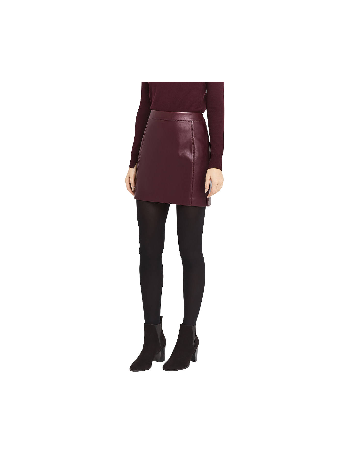 2f972d6d4 Buy Oasis Faux Leather Seamed Mini Skirt, Burgundy, 6 Online at  johnlewis.com ...