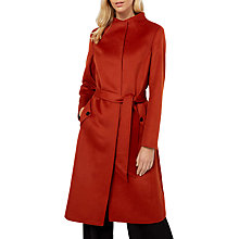 Buy Jaeger Wool Funnel Neck Belted Swing Coat, Burnt Orange Online at johnlewis.com