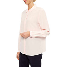 Buy Jaeger Placket Detail Silk Blouse, Light Pink Online at johnlewis.com