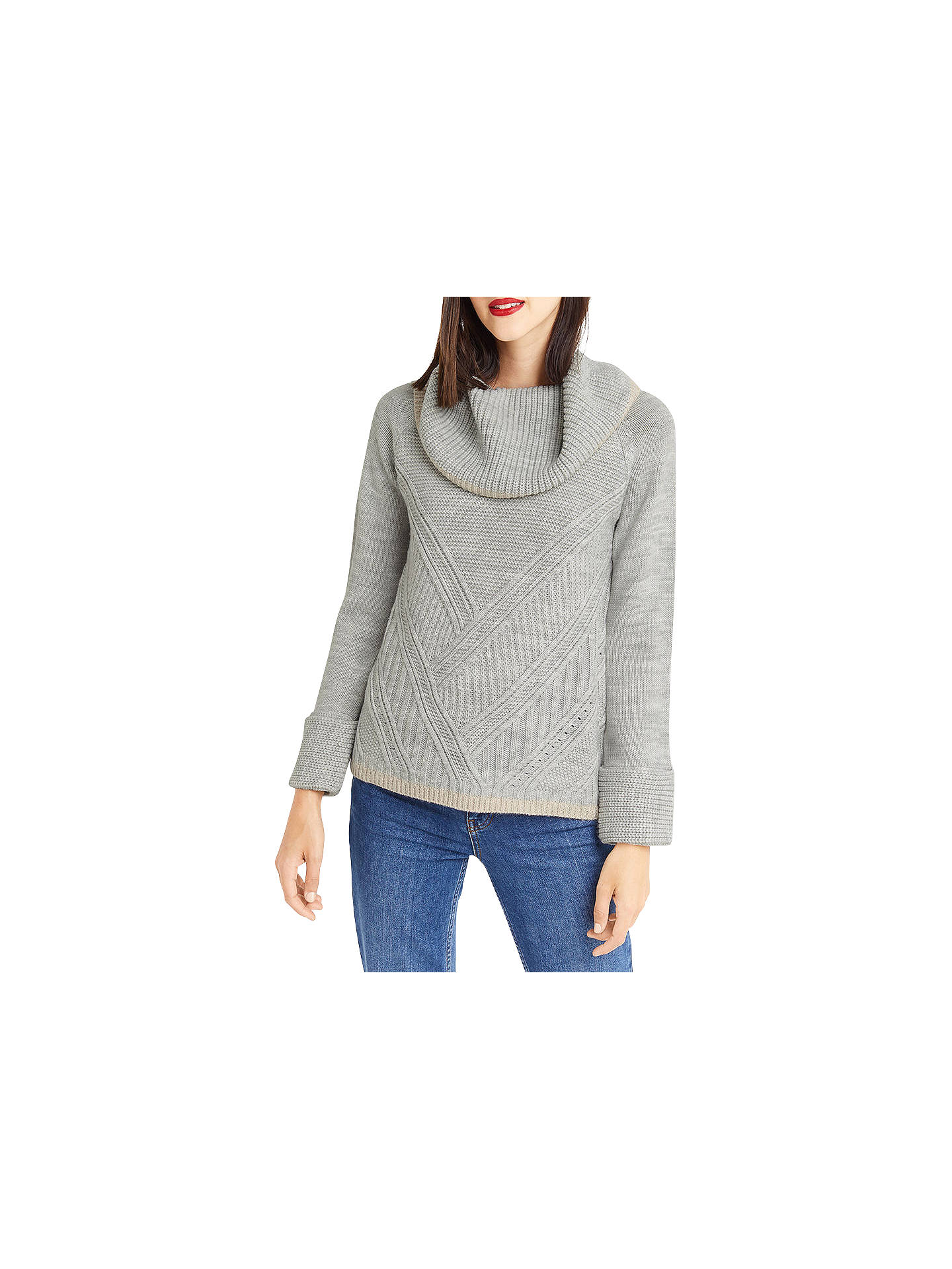 8c9ff1d6a3b6 Buy Oasis Ribbed Cowl Neck Jumper, Mid Grey, XS Online at johnlewis.com ...