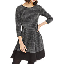Buy Oasis Tweed Flippy Skater Dress, Mid Grey Online at johnlewis.com