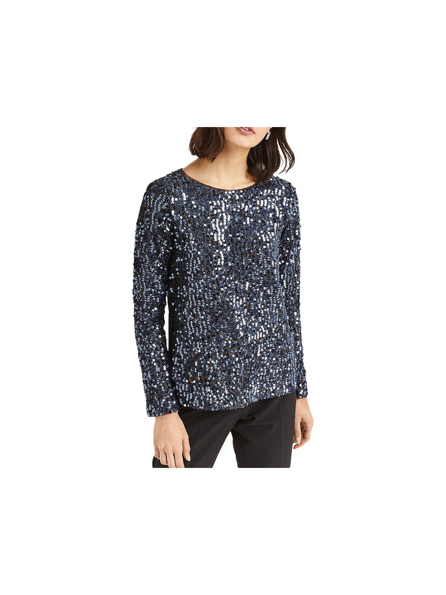 ae297e6d Buy Oasis Sequin Tinsel Jumper, Metallic Pewter, XS Online at johnlewis.com  ...