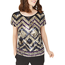 Buy Oasis Deco Sequin T-Shirt, Multi Online at johnlewis.com