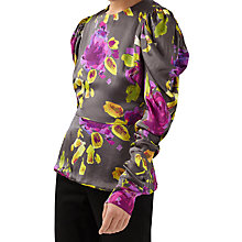 Buy Finery Cutler Artist Flower Print Ruched Sleeve Blouse, Grey/Multi Online at johnlewis.com