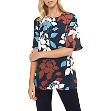 Buy Jaeger Silk Print T-Shirt, Navy/Multi Online at johnlewis.com