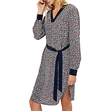 Buy Jaeger Silk Ditsy Speckle Print Belted Dress, Blue/Multi Online at johnlewis.com