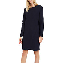 Buy Jaeger Pure Wool Ribbed Jersey Dress, Navy Online at johnlewis.com