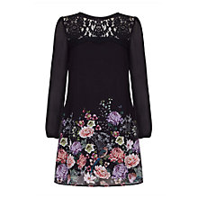 Buy Yumi Curves Oriental Lace Botanical Print Tunic Dress, Black/Multi Online at johnlewis.com