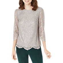 Buy Oasis NTU Lace Sleeve Top, Metallic Pewter Online at johnlewis.com