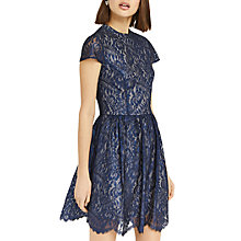 Buy Oasis NTU Stella Lace Skater Dress, Rich Blue Online at johnlewis.com