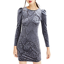 Buy Oasis NTU Embossed Puff Sleeve Dress, Dark Grey Online at johnlewis.com