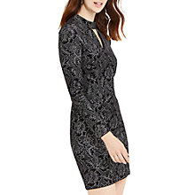 Buy Oasis NTU Lace Glitter Velvet Dress, Black Online at johnlewis.com