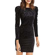 Buy Oasis NTU Embossed Puff Sleeve Dress, Black Online at johnlewis.com