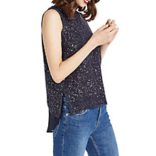 Buy Oasis Sequin Tank Top, Navy Online at johnlewis.com