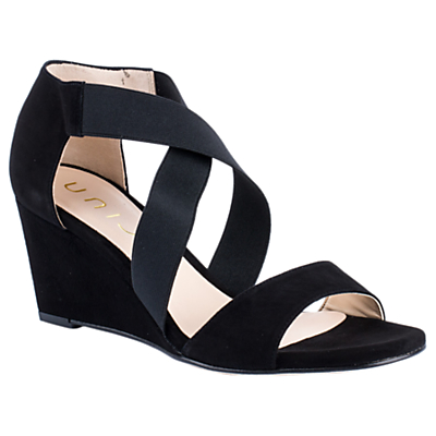 Unisa Diana 18 Wedge Heeled Sandals, Black Suede