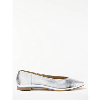 Kin by John Lewis Hakana Pointed Toe Pumps, Silver Leather