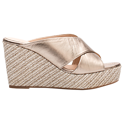 Unisa Licto Wedge Heeled Sandals, Metallic Leather